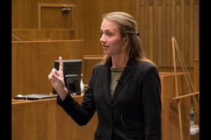 Mock trial president and attorney Mindy Morgan delivers an argument to the judge. Photo courtesy of the Empire Competition.