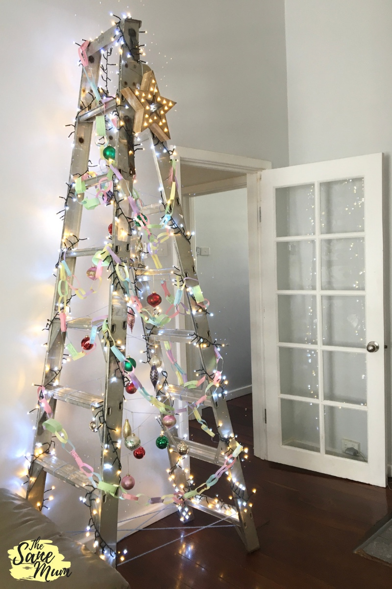 Alternative to a Christmas Tree - ladder as a Christmas Tree. The Sane Mum