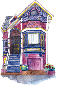 A pink and purple Victorian house