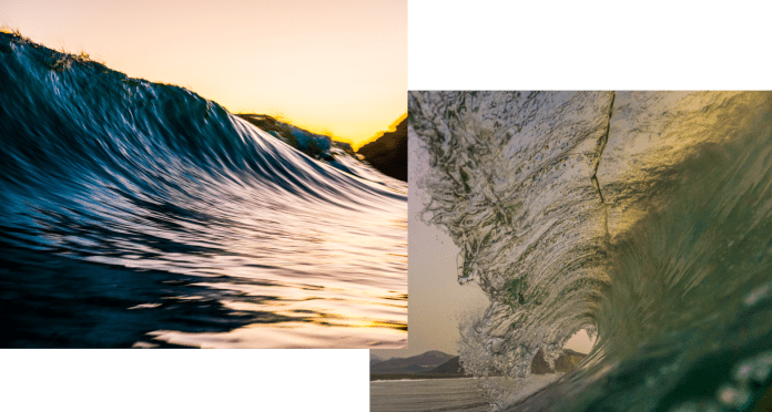 Two sets of sunset waves