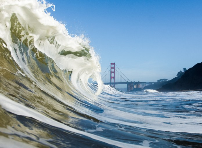 One of Bober's favorites, this image of a wave curling in past the Golden Gate Bridge, was selected as a finalist for the National Geographic student competition