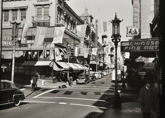 Black and white landscape photo of a street in San Francisco's Chinatown.