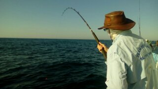 Johan Wessels getting in on the south coast fishing bite over the long weekend.