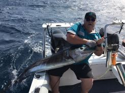 Len Mathews about to release a striped marlin at Zavora, Southern Mozambique