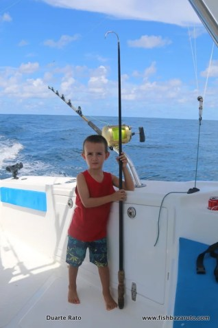 Duarte Jnr looking ready with the gaff off Bazaruto Island