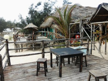 Outdoor seating area at Fatimas Nest in Tofo
