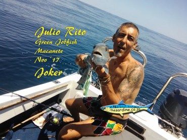 Julio Rito with a fiesty green jobfish caught on the jig somewhere between Inhaca and Macanete about exactly.