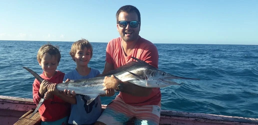 Duarte Rato Jnr and his very first Mozambique Marlin caught during Lockdown 2020 out off the Bazaruto Island inshore waters