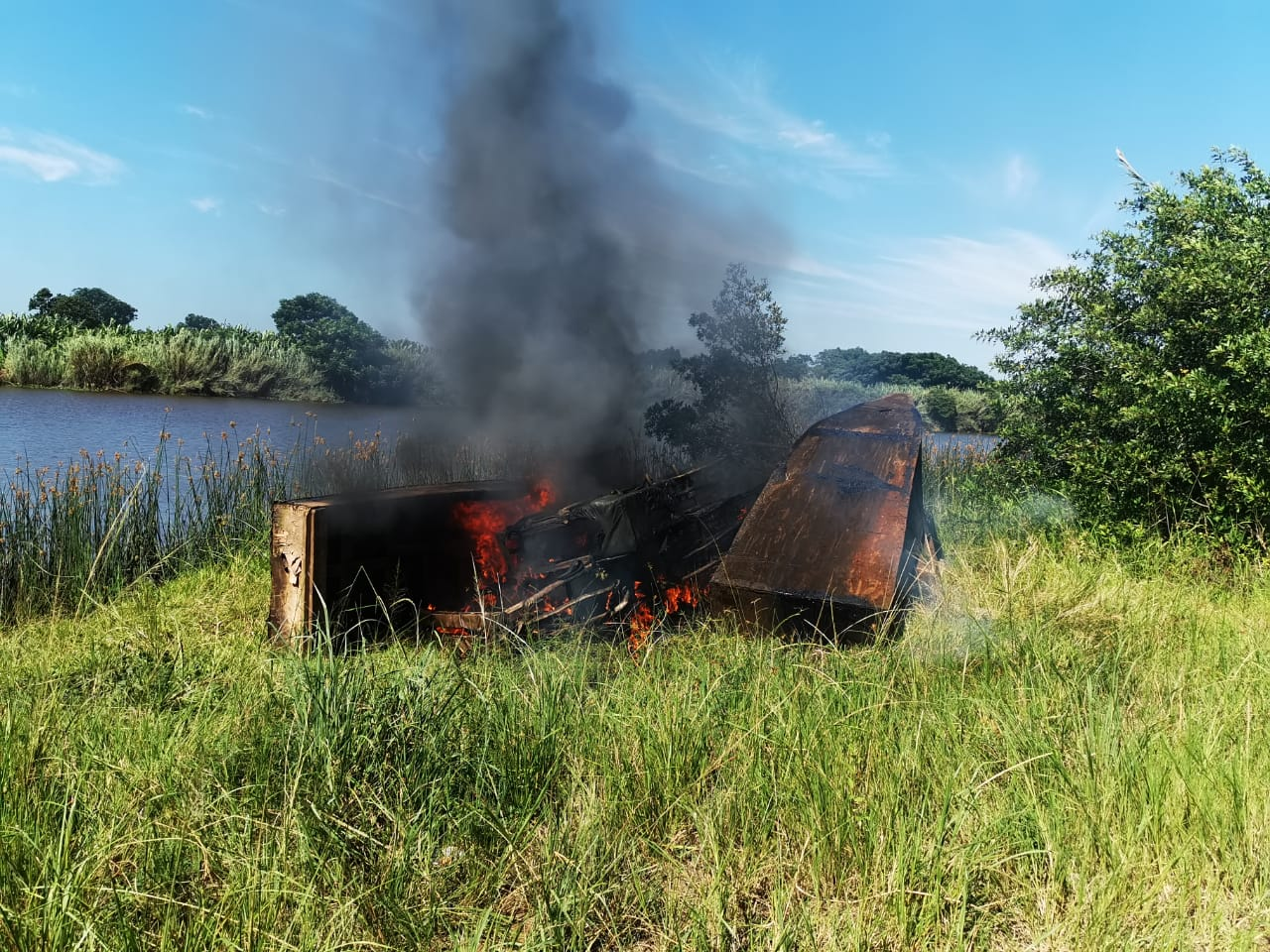 Burning nets as part of anti-poaching measures carried out voluntarily and with DAFF in Richards Bay