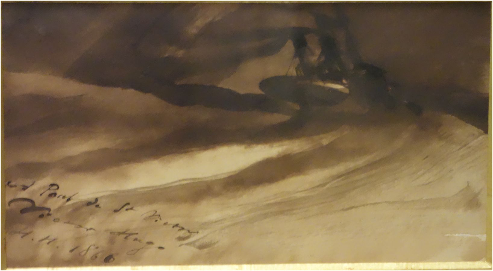 Victor Hugo's own painting of the boat in Toilers of the Sea
