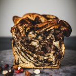 Vegan chocolate babka with pears