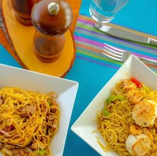 (L) Black Pepper Beef Noodles; (R) Noodles with Shrimp & Scallops