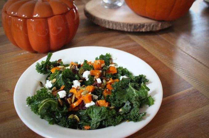 Harvest Kale Salad with Roasted Squash