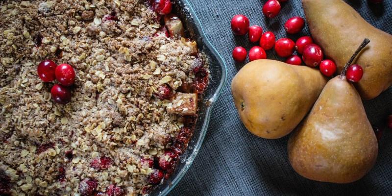 gluten free pear cranberry crisp