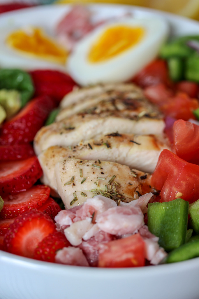 Strawberry Chicken Cobb Salad + Lemon Honey Vinaigrette
