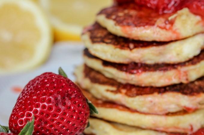 Gluten-Free Lemon Ricotta Pancakes with Strawberry Syrup