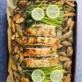Sheet-Pan Lemon Honey Garlic Salmon, Asparagus, & Potatoes