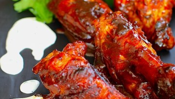 BBQ Chicken Wings Recipe with Garlic Parmesan Dipping sauce recipe