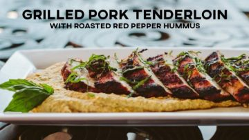 Grilled Pork Tenderloin with Roasted Red Pepper Hummus Recipe