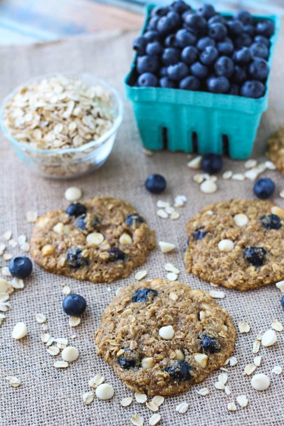 oatmeal cookies with blueberries and white chocolate chips