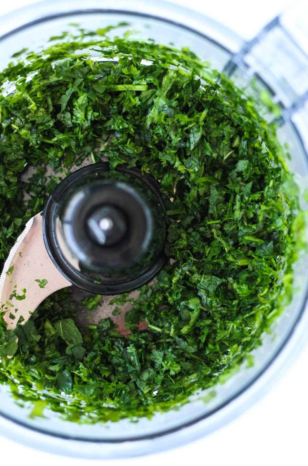 herbs in a food processor
