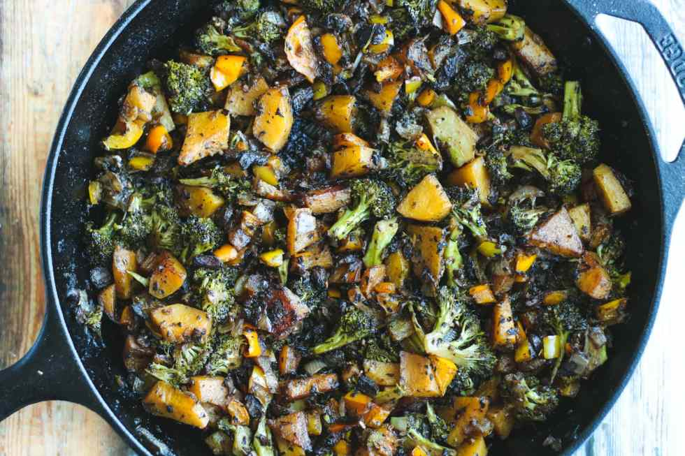 balsamic roasted vegetables in a cast iron skillet