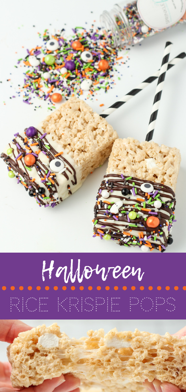 These fun Halloween Rice Krispie Pops are both cute and simple to make. Plus, they taste amazing with the salted brown butter and dark chocolate! The kids and family are sure to love them! via thesaucyfig.com #ricekrispietreats #dessert #halloweentreats #easyhalloweentreats #ricekrispiepops