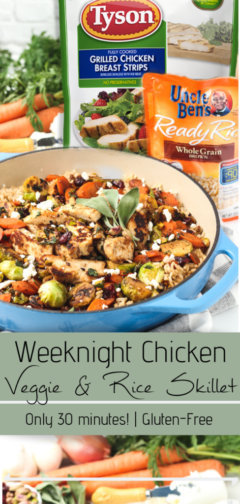 chicken, veggies and rice in a skillet