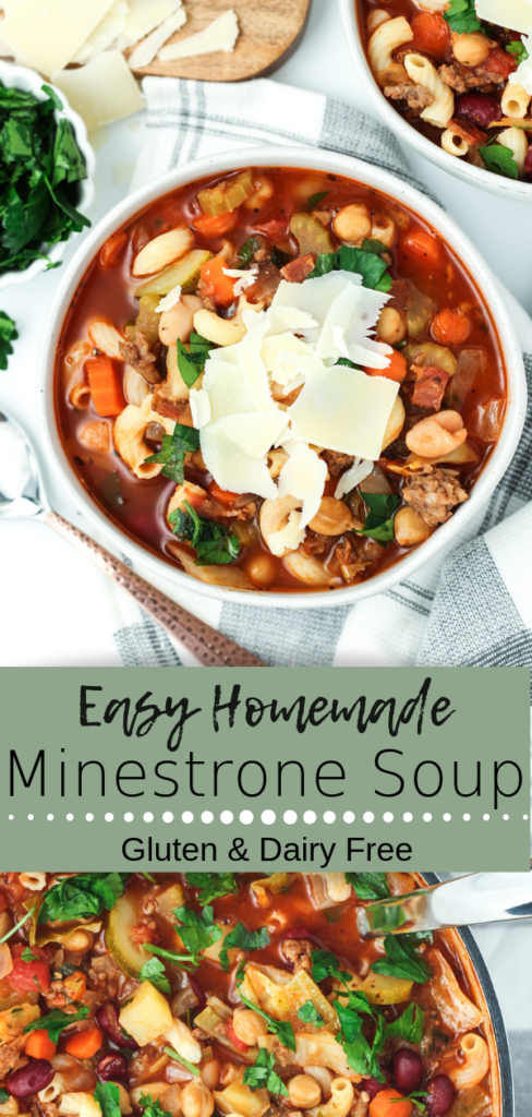 This Easy Homemade Minestrone Soup is fast and satisfying – the perfect comforting meal on a chilly day. Packed with vegetables, beans and pasta in a rich tomato broth, this hearty meal is loaded with flavor! #easyrecipes #soup #italianfood #delicious #healthy #thesaucyfig