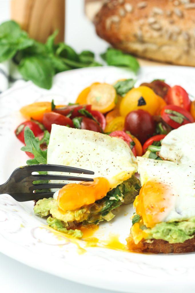 sunny side eggs on avocado toast