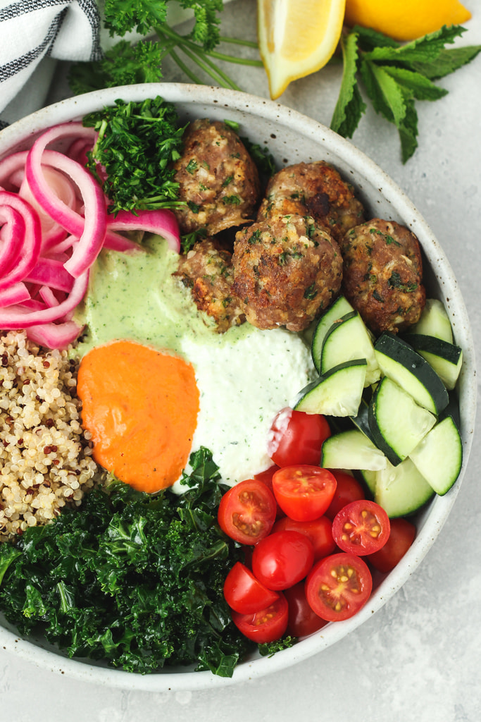 Mediterranean Bowls with Greek Turkey Meatballs and Tzatziki Sauce