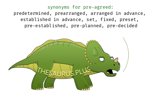 12 Pre-agreed Synonyms. Similar words for Pre-agreed.
