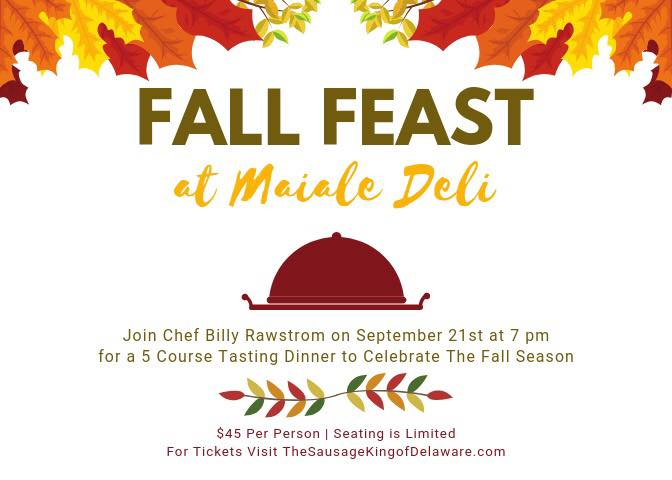 Fall Five Course Tasting Dinner in Delaware 2019