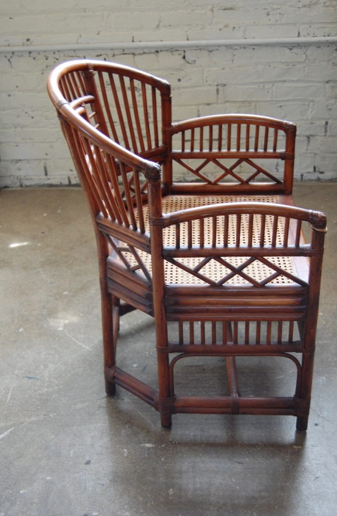 Pair of Brighton Pavilion Style Rattan Club Chairs  The