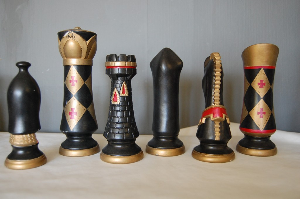 Tall Vintage Gothic Chess Set  14 pieces  The Savoy Flea