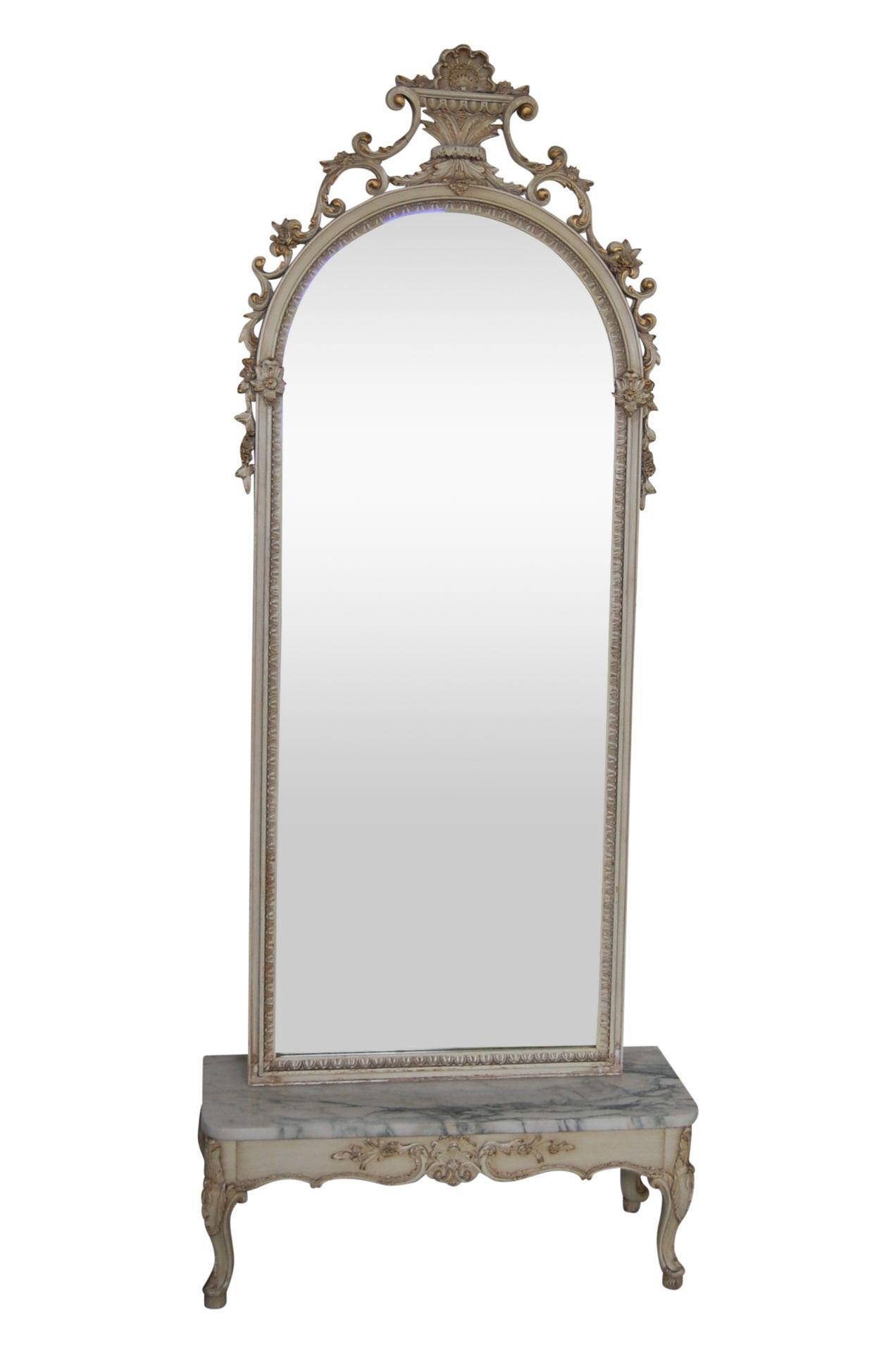 19th C. Antique French Pier Ivory & Gold Mirror & Marble