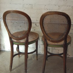 French Bentwood Cafe Chairs Fishing Chair Gimbal Pair Of Antique Kohn & Cane | The Savoy Flea