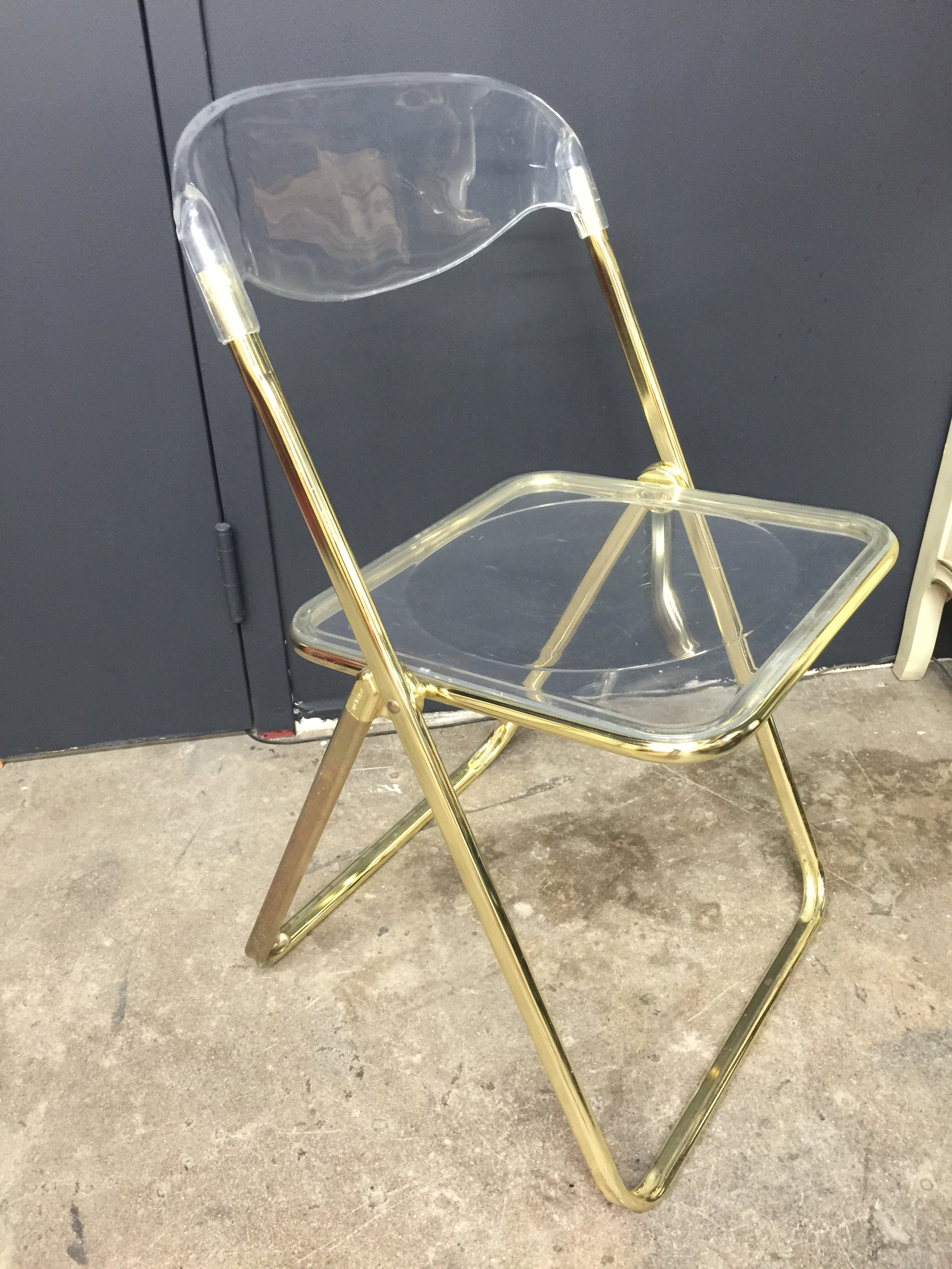 Brevattato Lucite  Gold Folding Chair  The Savoy Flea