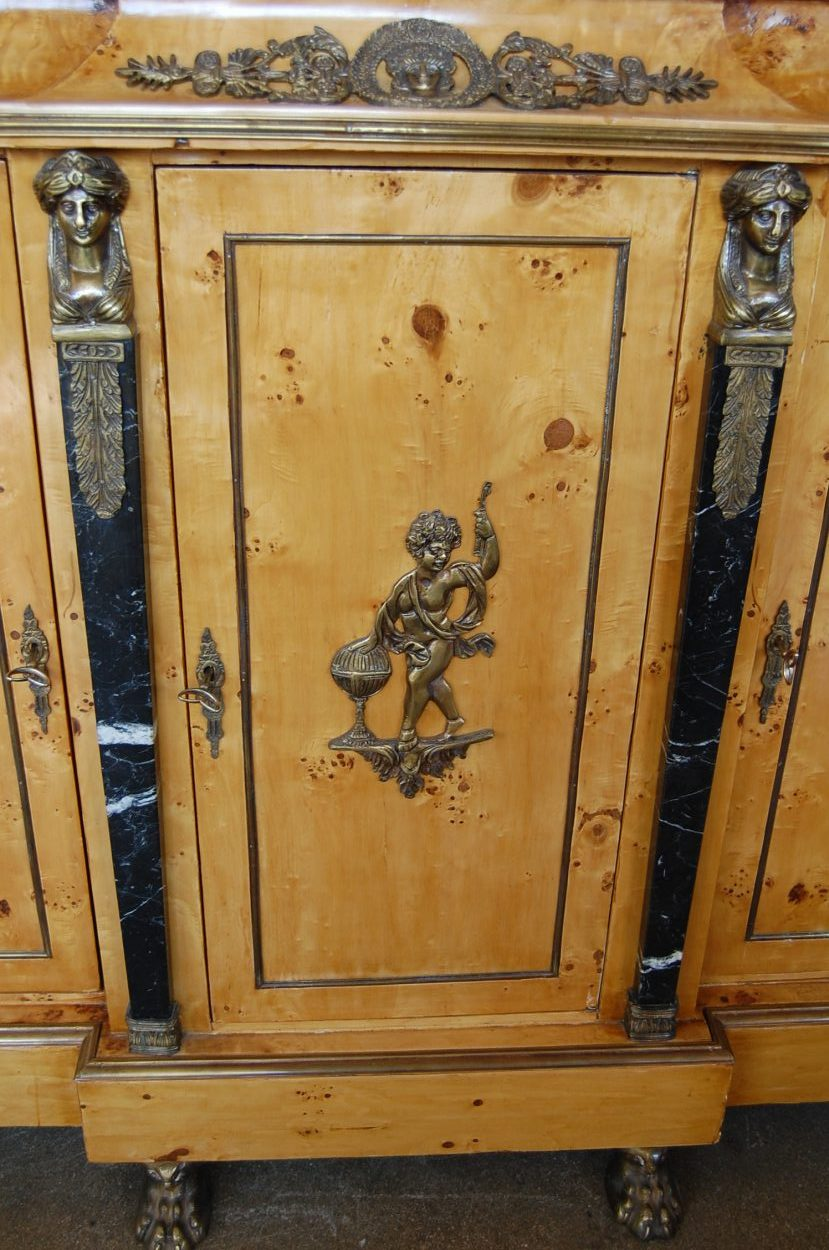 French Empire Burled Maple Cabinet  The Savoy Flea