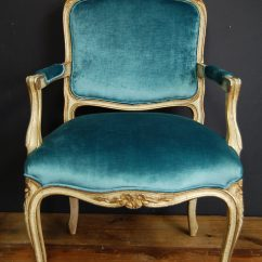 French Velvet Chair Soccer Ball Vintage Peacock Louis Xv Fauteuil | The Savoy Flea