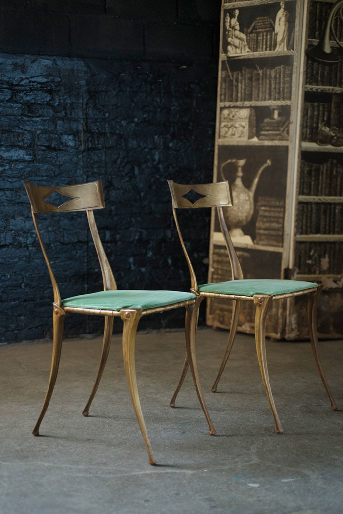 Pair of Palladio Side Chairs Dining Chairs in Absinthe
