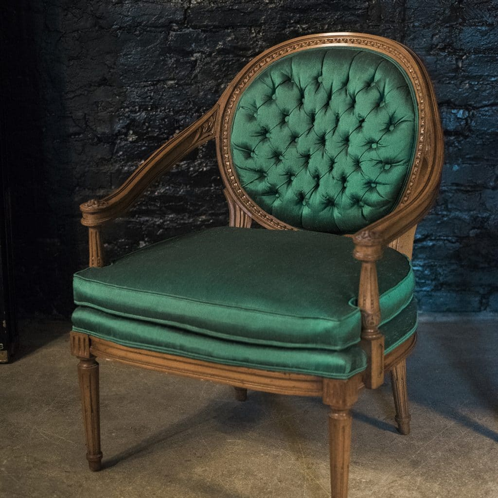 green french bistro chairs blue and white accent chair target tufted emerald louis xvi pair the