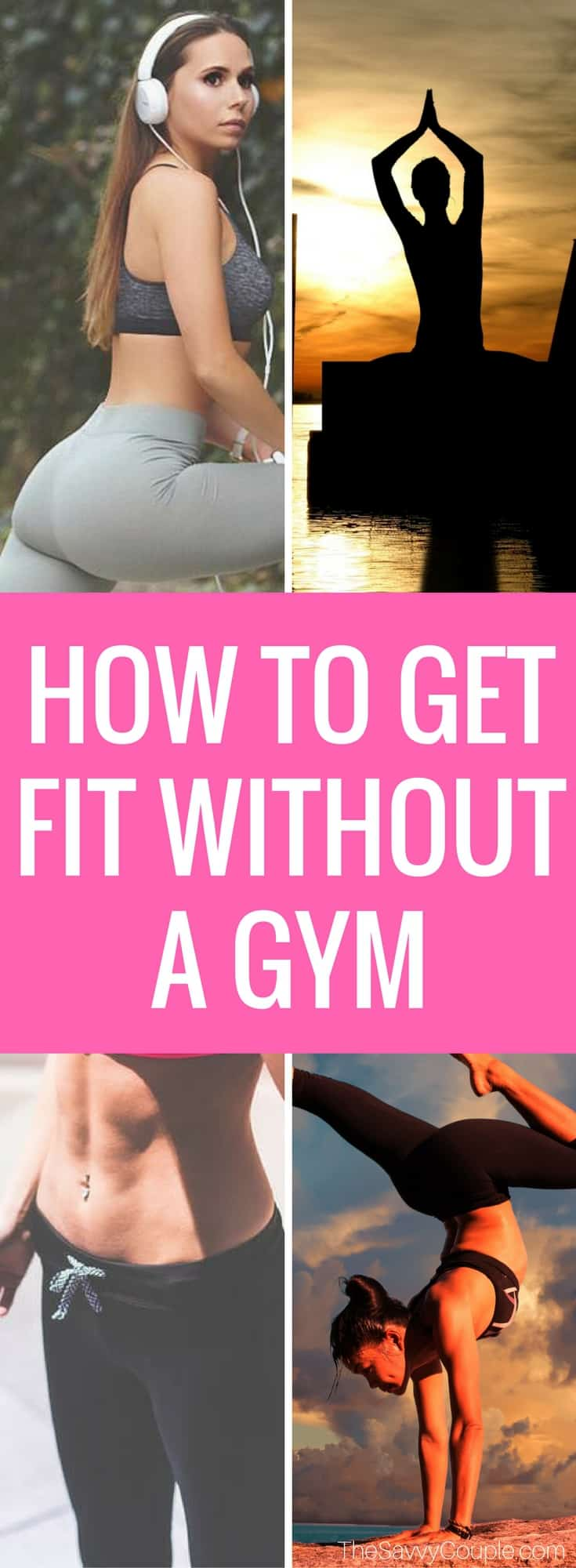 Get fit today! 5 frugal ways to get fit without the cost of a gym membership. Fitness goals you can achieve in and around your house. Learn how to get fit without busting your budget. These are 5 easy ways to get fit on a frugal budget. What's better than getting healthy and saving money? Save money | Frugal Living | Fitness Inspiration | Fitness Goals | Advice | Health and Fitness |