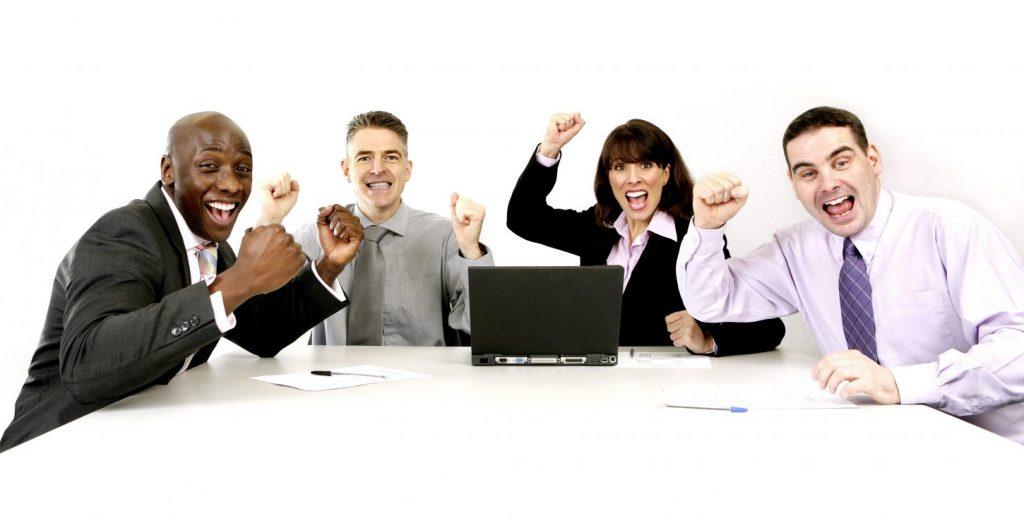 Team of happy employees