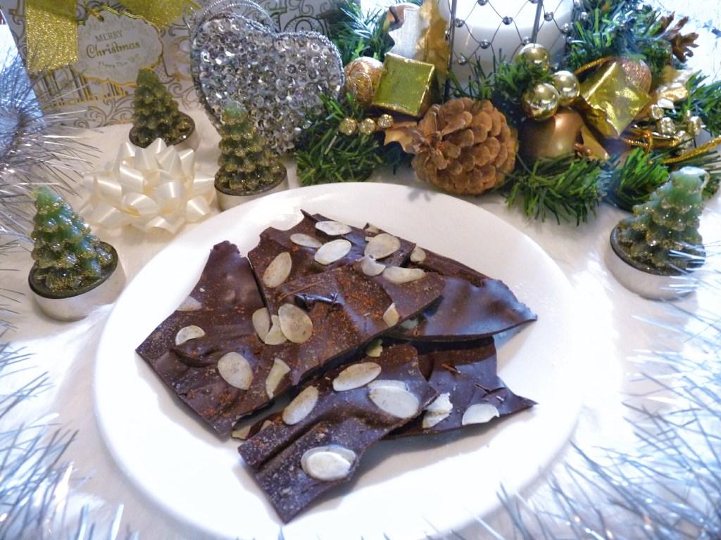 Festive holiday chocolate bark