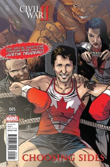 Justin Trudeau Comic Book Cover Civil War II Choosing Sides