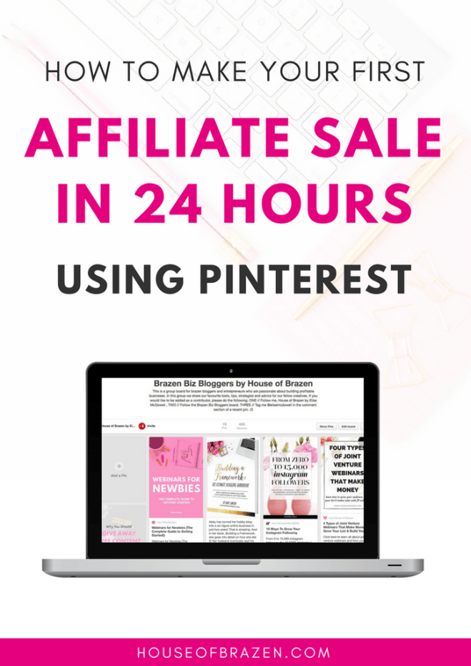 How to Make Your First Affiliate Sale i24 Hours Using Pinterest - ebook