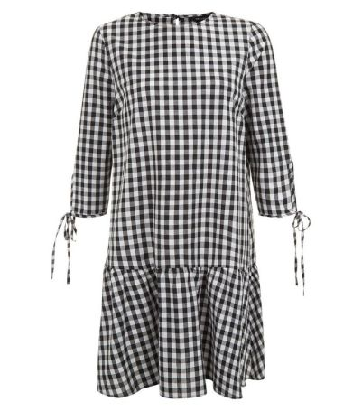 black-gingham-check-drop-hem-smock-dress