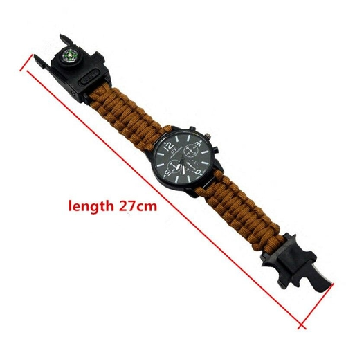 Outdoor Multifunction Camping Survival Watch Tools with LED Light 550Ibs Paracord Compass Whistle Reflector fd3513b0 8191 4a3a 9a72 c2f084219622