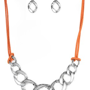 orange suede string with silver statement piece plus matching silver fish hook back earrings